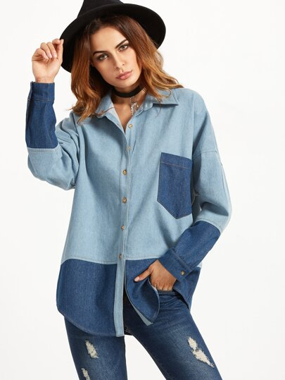 Color Block Drop Shoulder Curved Hem Shirt Jacket