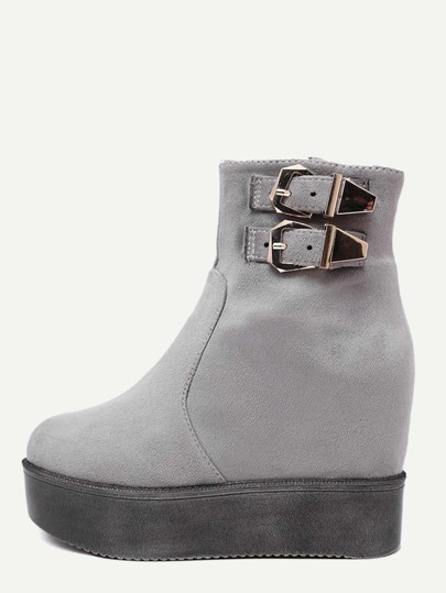 Серые замшевые ботинки на платформе