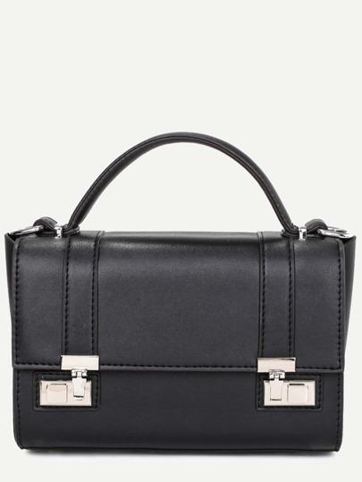 Black Dual Pushlock Satchel Bag
