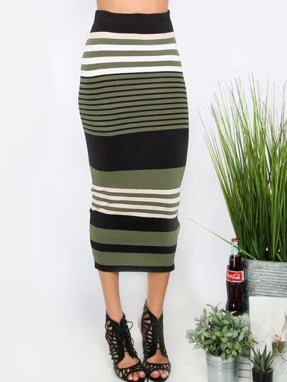 Multicolor Striped Sheath Midi Skirt