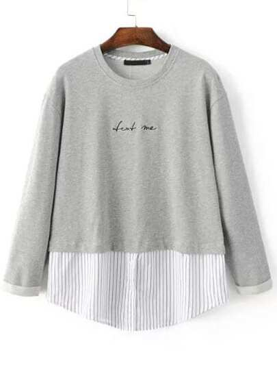 Grey Letter Embroidery 2 In 1 Striped Hem Sweatshirt