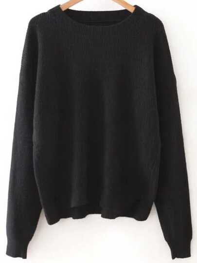 Jersey acanalado con cuello redondo - negro