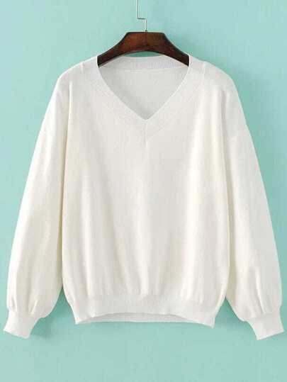 White V Neck Drop Shoulder Ribbed Trim Knitwear