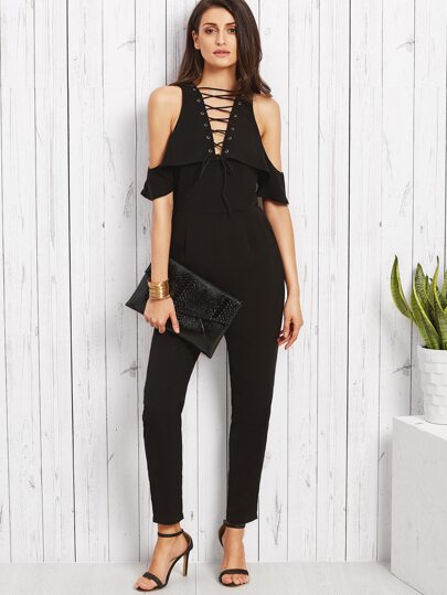 Black Lace Up V Neck Cold Shoulder Jumpsuit