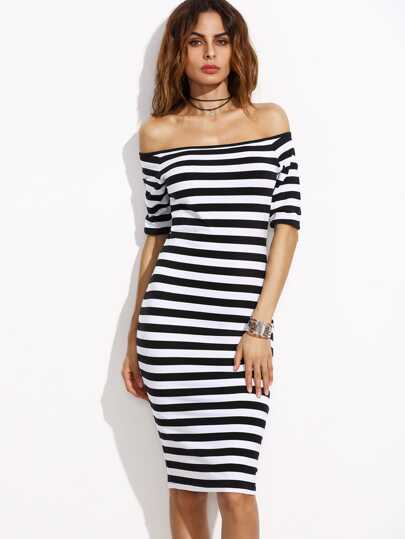 Two Tone Striped Bardot Pencil Dress