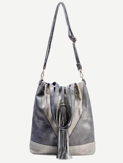 Grey Faux Leather Tassel Trim Drawstring Bucket Bag
