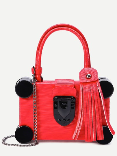Red Round Plastic Trim Fringe Charm Box Bag