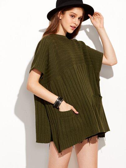 Dark Green Slit Side Ribbed Sweater