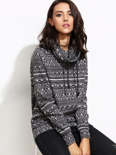 Geometric Print Cowl Neck Drawstring Sweater