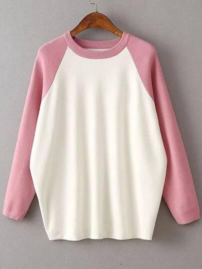 Pink Contrast Raglan Sleeve Ribbed Trim Knitwear