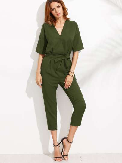 Green V Neck Drop Shoulder Self Tie Jumpsuit