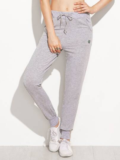 Grey Heart Print Drawstring Pants
