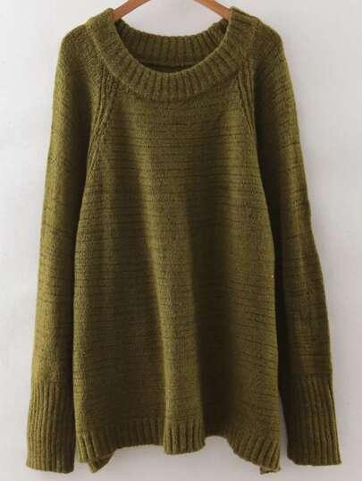 Army Green Raglan Sleeve Ribbed Trim Sweater