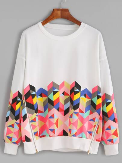 White Geo Print Drop Shoulder Zips Side Sweatshirt