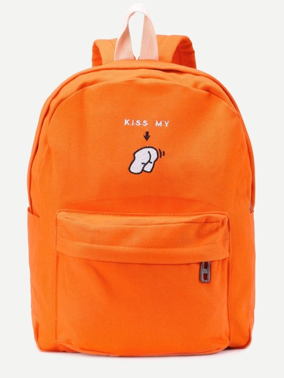 Orange Front Zipper Canvas Backpack With Clutch