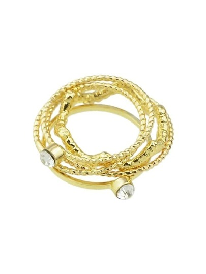 Gold Rhinestone Thin Midi Finger Ring