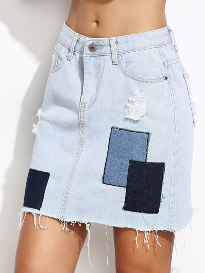 Color Block Raw Hem Patch Denim Skirt