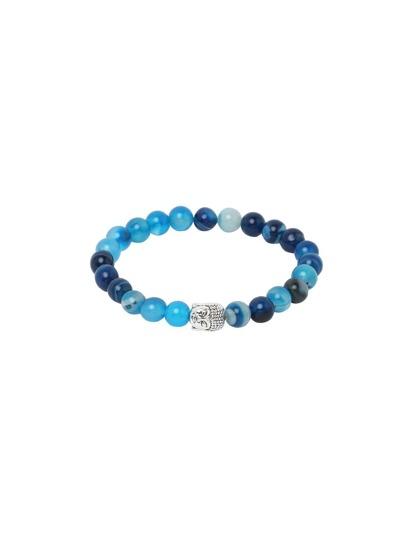 Blue Network Stone Beaded Buddha Head Stretch Charm Bracelet