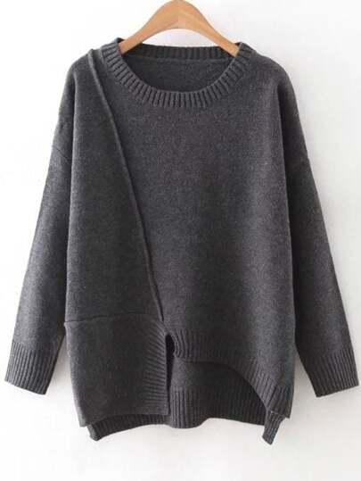 Jersey acanalado de cuello redondo con bajo asimétrico - gris oscuro