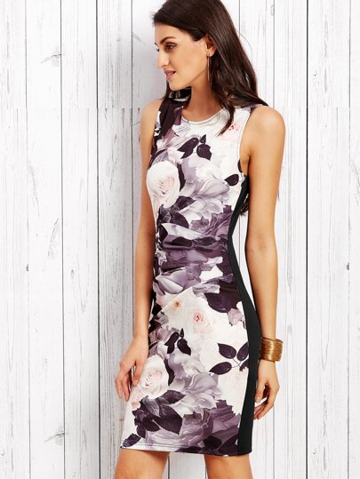 Contrast Rose Print Ruched Sheath Dress