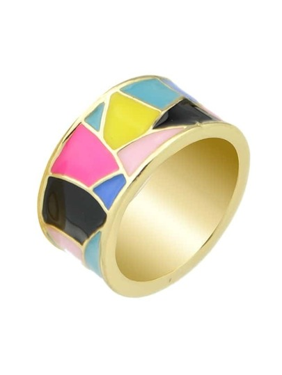 Black Geometric Pattern Round Finger Ring