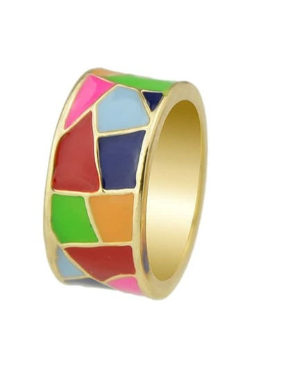 Red Geometric Pattern Round Finger Ring
