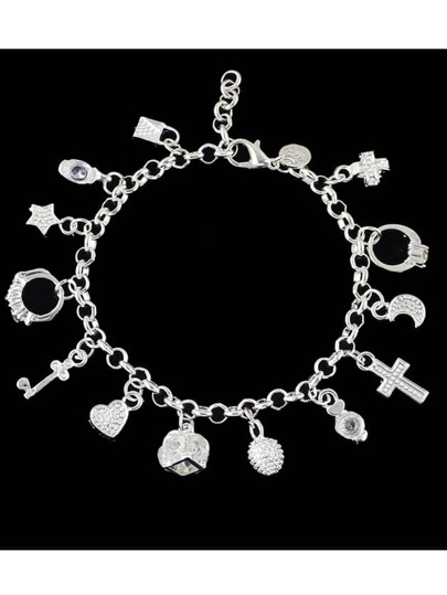 New Silver Color Rhinestone Heart Key Charms Bracelet
