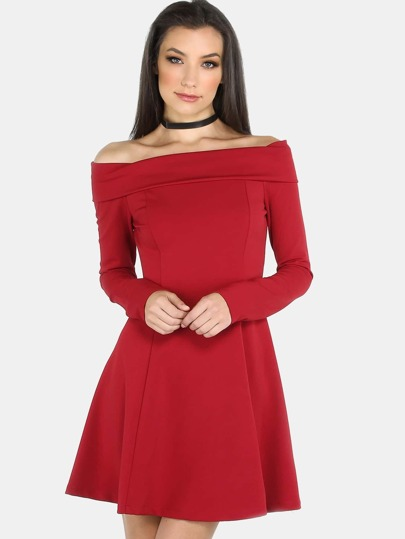 Sleeved Open Shoulder Skater Dress RED