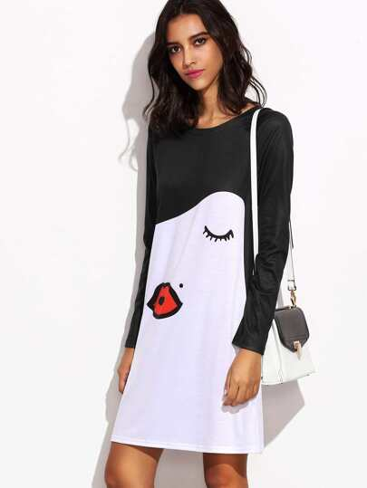White Kiss Face Print Contrast Raglan Sleeve Dress