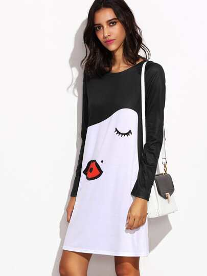 Kiss Face Print Contrast Raglan Sleeve Dress