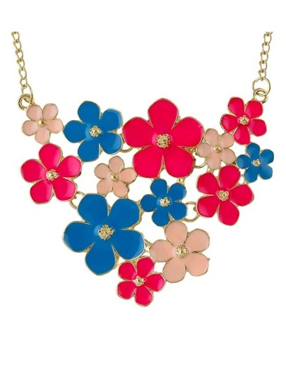 Colorful Enamel Statement Flower Necklace