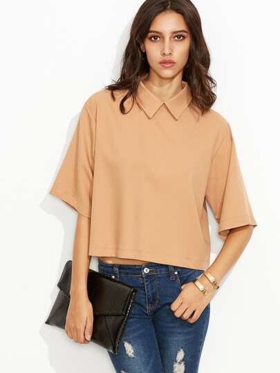 Apricot Lapel Elbow Sleeve Zipper Back Blouse