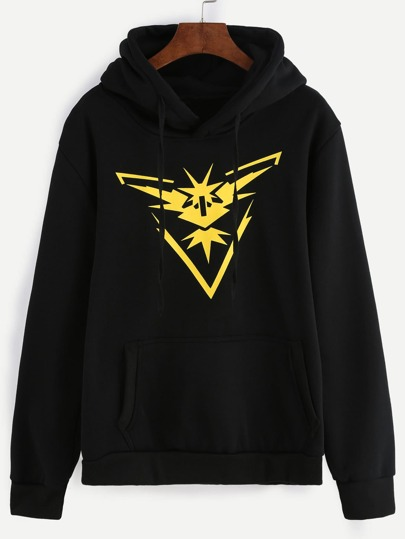 Black Print Hooded Sweatshirt