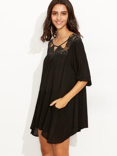 Black Crochet Neck Drop Waist Dress With Pocket
