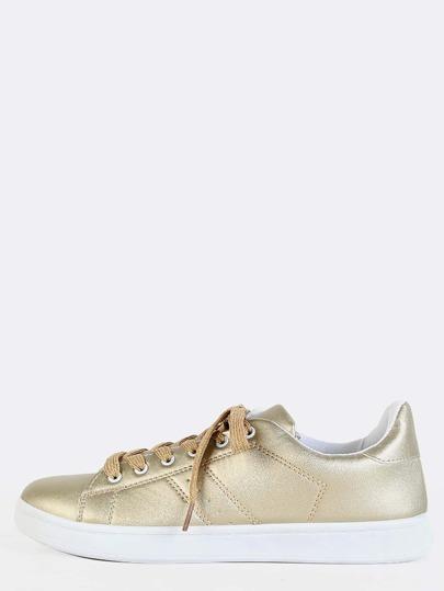 Low Top Metallic Sneakers CHAMPAGNE