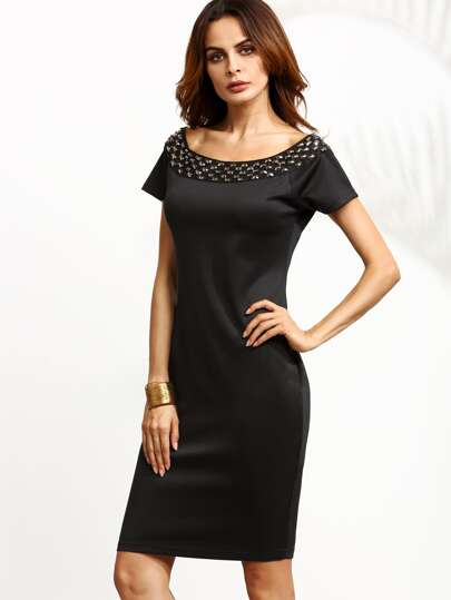 Black Rivet Trim Zipper Pencil Dress