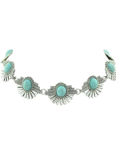 Blue Indian Design Imitation Turquoise Flower Choker Necklace