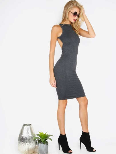 Black Open Back Sleeveless Bodycon Dress