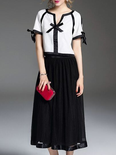 Black V Neck Bowknot Top With Skirt