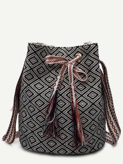 Black Meande Pattern Canvas Bucket Bag
