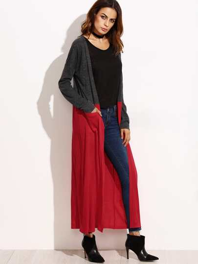 Contrast Open Front Maxi Cardigan With Pockets