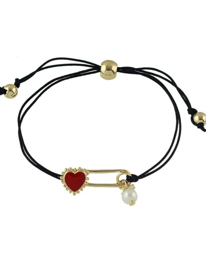 Imitation Pearl Heart Charms Adjustable Braided Rope Bracelet