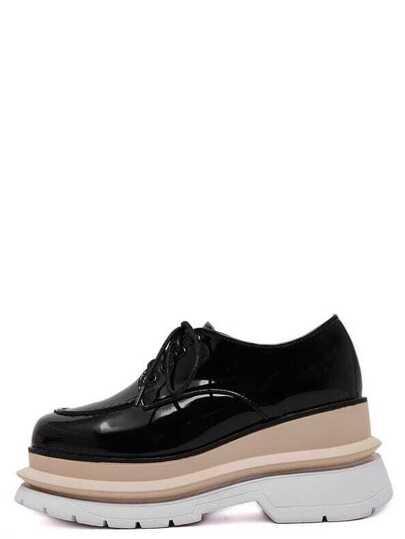 Schuhe Karree Zehen mit Schnürband - schwarz
