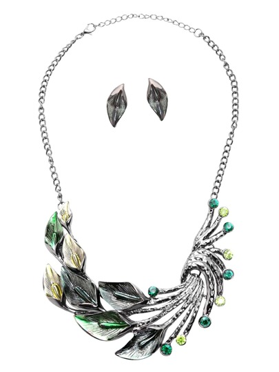 Green Rhinestone Peacock Feather Stylish Jewelry Set