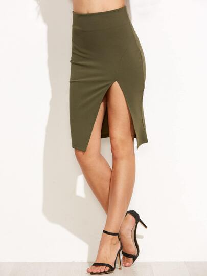 Army Green Split Side Zipper Back Pencil Skirt