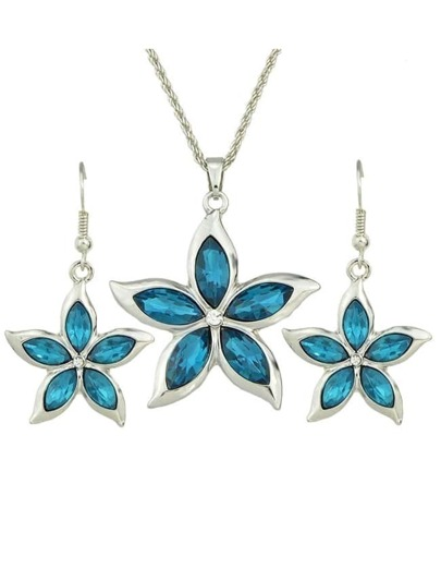 Lightblue Rhinestone Flower Jewelry Set