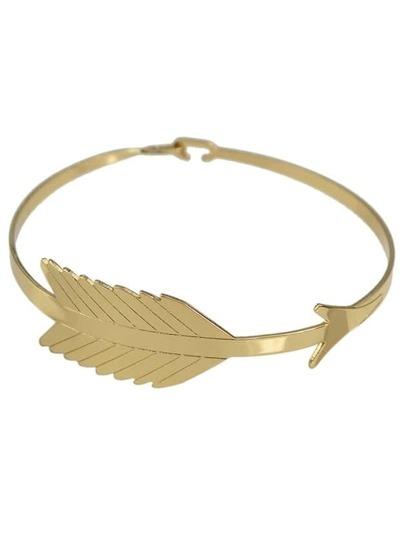 Gold Simple Leaf Shape Metal Bracelet For Women