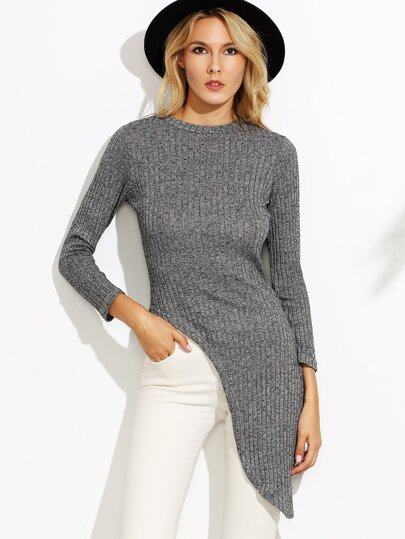 Grey Ribbed Long Sleeve Asymmetrical Sweater