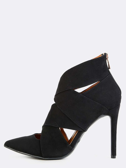 Pointy Toe Cut Out Stiletto Boots BLACK