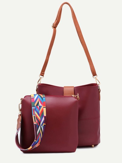 Burgundy Contrast Buckle Geometric Strap Bag With Crossbody Bag